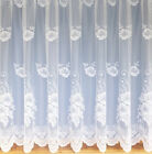 White Net Voile Curtain - Floral - All Sizes Available