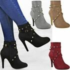 New Womens Ladies Stud Ankle Boots Strappy High Heels Stilettos Party Shoes