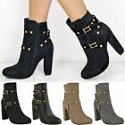 New Womens Ladies Stud Block High Heel Ankle Boots Zip Punk Party Shoes Size