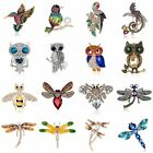 Woman Crystal Pearl Bird Owl Dragonfly Bee Animal Collar Brooch Pin Jewelry Gift