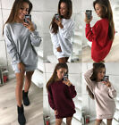New UK Ladies Sweater Long Sleeve Round Neck Party Dresses Casual Mini Dress