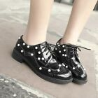 Chic Womens Brogue Carved Lace Up Collegiate Oxford Shoes Student Plus Size Shoe