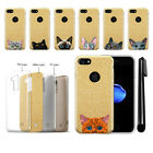 "For Apple iPhone 7/8 4.7"" Cat Design Slim Sparkling Gold TPU Case Cover + Pen"