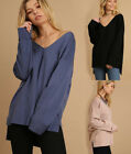 UMGEE Women's Relaxed Fit V-Neck Tunic Sweater Long Sleeve Slouchy Dolman Top