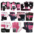Ladies Womens Weight Lifting Gloves Leather Gym Training Fitness Body Building