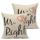 Mr Right and Mrs Always Right Couple Fun Cotton Pillow Case Cushion Cover Home