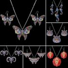 Fashion Printing Animal Butterfly Panda Tiger Necklace Earrings Jewelry Set Gift