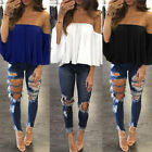 Women Bardot Gypsy Blouse Bandeau Off Shoulder Tops Long Bell Sleeve Top Prom YG