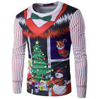 Men's Adults Christmas Santa Pullover Hoodie Knitted Jumper Sweatshirt Top Gift