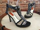Chi Falchi Black Genuine Snakeskin Jeweled High Heel Sandals New