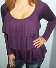 New HYPNOTIZED Purple TIERED RUFFLE Top LONG SLEEVE Shirt CHOOSE S M L