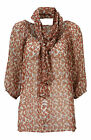Tan Floral Print Gypsy Top On or Off Shoulder 3/4 Sleeves Optional Scarf 10/12