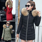 Warm Womens Winter Long Cotton Padded Collar Hooded Coat Parka Down Jacket YG