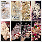 Luxury Bling Crystal Rhinestone Pearl Flovwer Clear PC Case Cover For LG /iPhone