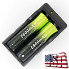 2PC Batteries Li-ion 18650 3.7V Rechargeable Battery+Dual Charger Flashllight