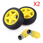2 Sets Smart Car Robot Plastic Tire Wheel With DC 3-6V Gear Motor For Aarduino