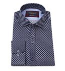 Guide London Navy/Sky Cotton Sateen Geometric Print Long Sleeve Shirt LS74379
