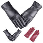 Women Lady Soft PU Leather Screen Full Wrist Gloves Driving Winter Warm Mittens