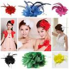 Women Girl Fascinator Flower Feather Corsage Bridal Wedding Dance Race Hair Clip