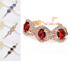 LUXARY  BLACK, RED, ROYAL BLUE  DIAMANTE RHINESTONE CRYSTAL  PARTY OVAL BRACELET