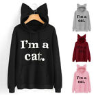 Women Ladies Cat Long Sleeve Hoodie Jumper Sweater Pullover Tops Coat Sweatshirt
