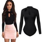 UK Womens Sexy Halter Neck Bodysuit Leotard Top Stretch Long Sleeve Jumper YG