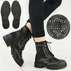 Ladies Womens Studded Ankle Biker Boots Punk Goth Chunky Lace Up Army Size