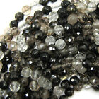 "Faceted Black Moss Quartz Round Beads Gemstone 15"" Strand 4mm 6mm 8mm 10mm 12mm"