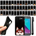 For Samsung Galaxy J3 Emerge J327 2nd Dog Design Black SILICONE Case Cover + Pen