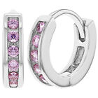 925 Sterling Silver CZ Small Huggie Hoop Earrings for Girls Infants 0.39""