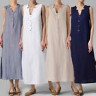 ZANZEA Plus Womens Sleeveless V Neck Buttons Split Solid Long Maxi Dress Kaftan