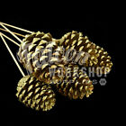 GIANT PINE CONES ON STICKS GOLD SILVER FROSTED CHRISTMAS CRAFT FLORAL DECORATION