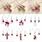 Natural Real Dried Flower Glass Teardrop Chain Pendant Necklace Jewelry Gift New
