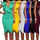 UK 8-24 6Colors ZANZEA Womens Ruffles Deep V Bodycon Cocktail Cubwear Long Dress