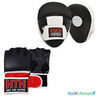 Boxing MMA Leather Grappling Gloves Training Punch Focus Pads Set Hook and Jab
