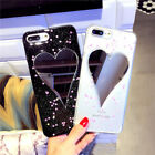 Bling Glitter Powder Love Heart Mirror Case Soft TPU For iPhone 6 6S 7 8 Plus X