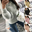 Women Warm Plush Winter Knitted Jumper Sweater Pullover Knitwear Crewneck Tops
