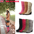 Fashion Womens Winter Wedge Boots Mid Heel Slip On Mid Calf Casual Shoes Boots