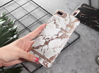 For iPhone X 8 Plus 6S 7 Luxury Abstract Rose Gold Marble Print Hard Phone Case