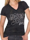 Harley-Davidson Womens Live To Ride Burnout Black Short Sleeve V-Neck T-Shirt