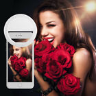 Portable Rechargeable Selfie LED Ring Fill Light Camera Fit Android iPhone Phone