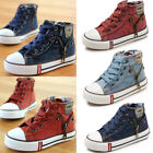 Children Kids Boys Girls Canvas Shoes High Top Casual Comfortable Sneakers Size