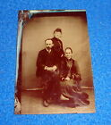 Vintage Tintype Photograph Two Women in Dresses and a Man Seated