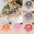 Women Lace Hollow Long Neck Wrap Tassel Scarf Flower Floral Print Triangle Shawl
