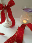 CHRISTMAS HARLEQUIN diamond festive Red & Gold - Luxury Wire Edged Ribbon