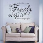 Inspirational Wall Sticker Family Two People Fell in Love Quote Vinyl Art Decor