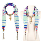 Infinity Scarf Women Lucky Owl Pendant Necklace Tassel Cotton Scarve Shawl Wraps