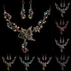 Retro Butterfly Flower Rhinestone Pendant Necklace Earrings Party Jewelry Set US
