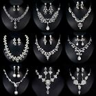 Fashion Crystal Pearl Charm Necklace Earrings Women Bridal Wedding Jewelry Set