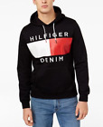 Tommy Hilfiger Men's Deep Knit Black Brooks Logo Print Pullover Hoodie